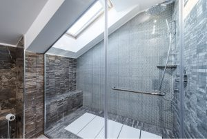 New glass shower enclosure at a bathroom in Naperville, Illinois