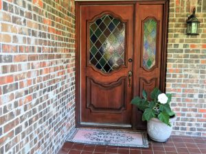 Decorative glass panels in the front door of a house in Hoffman Estates, Illinois