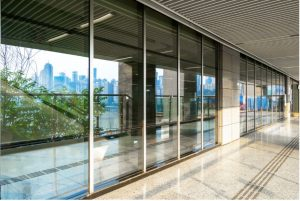 Glass door replacement at a building in Arlington Heights, Illinois
